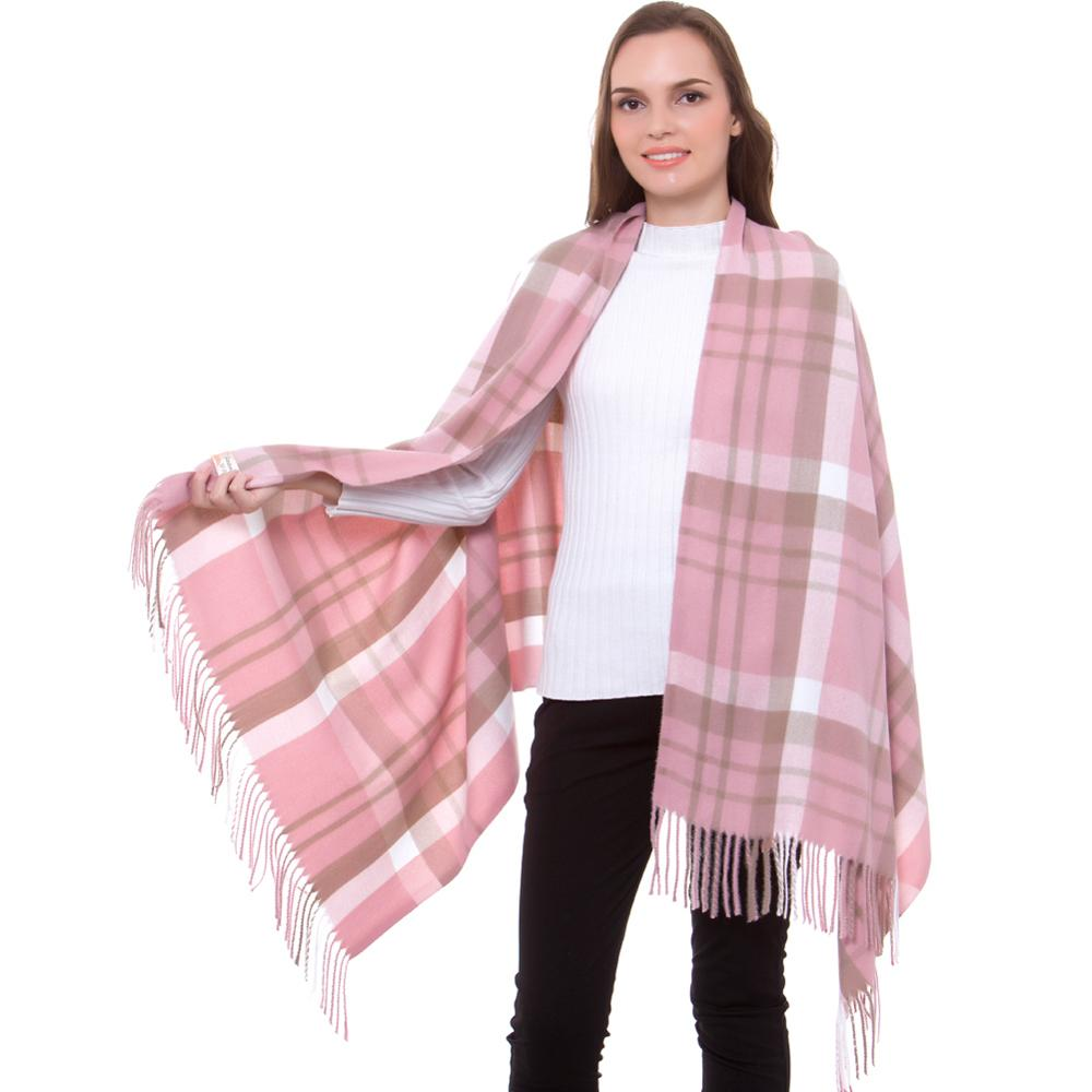 Cashmere   Scarf   Shawl Winter Stylish Lady Check Plaid Autumn   Wrap   Pashmina Fine Brushed Long Large Thick Tartan Tassel Hijab Pink