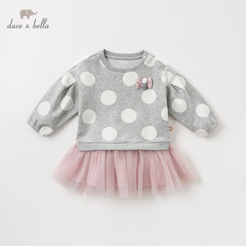 DBM10845 dave bella autumn baby girl's princess cute bow dots dress children fashion party dress kids infant lolita clothes image