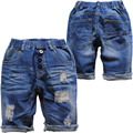 3924 soft cool hole summer jeans denim shorts 50% length blue hole boys jeans  girls  kids child  knee length  elastic waist