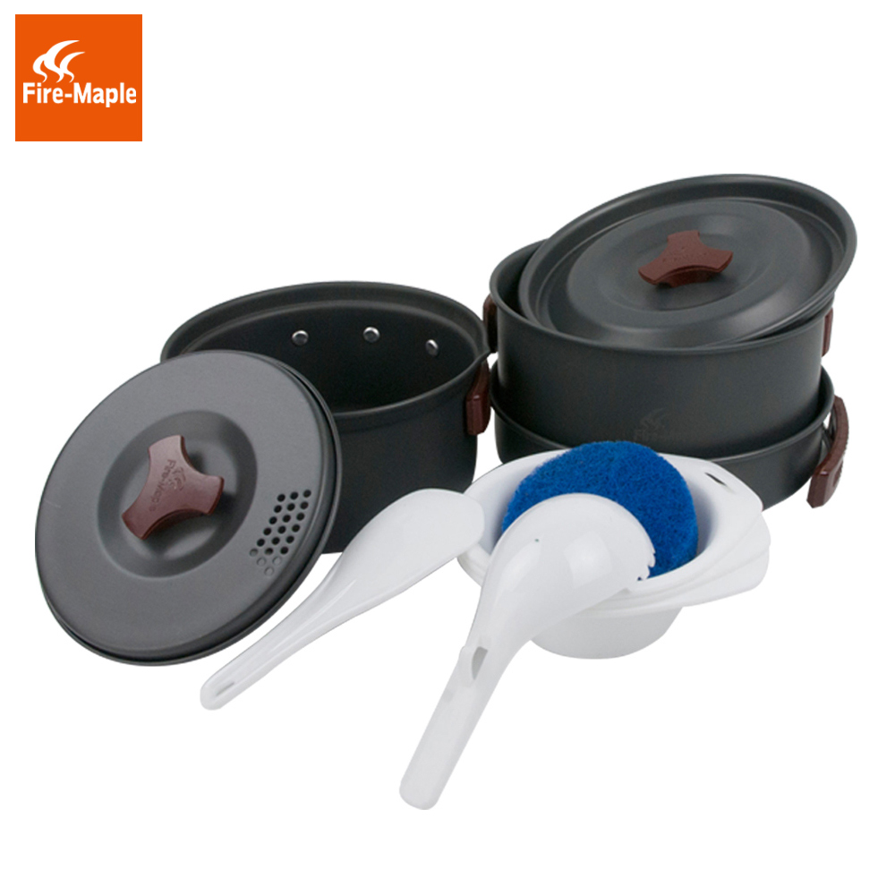 Fire Maple 2-3 Persons Set Be Cocina Camping Pot Outdoor Cutlery Panelas Camp Cooking Cookware Picnic FMC-202 fire maple fmc 206 hot sale 4 5 persons camping cooking set pot camp cookware picnic outdoor cutlery only 1270g