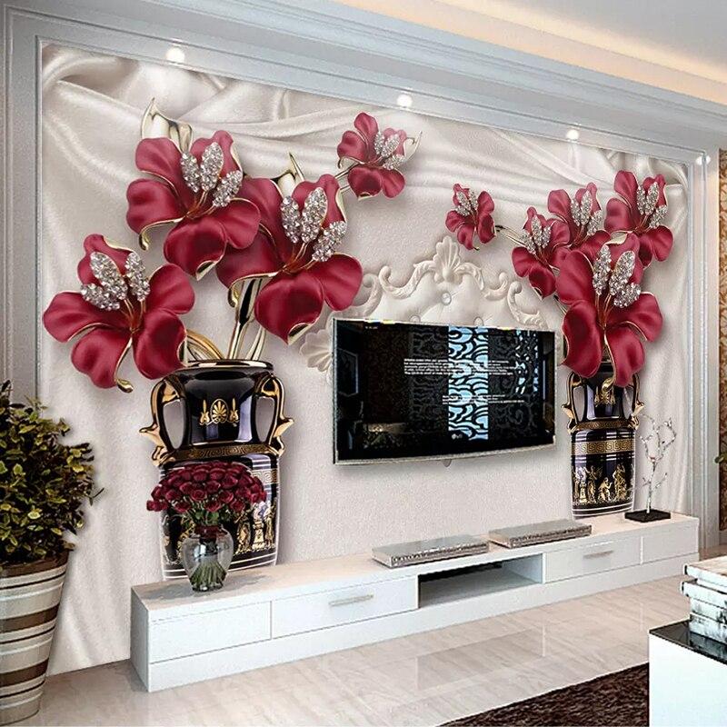 Custom Photo Wallpaper 3D European Style Jewelry Flower Living Room Bedroom TV Background Wall Murals Wallpaper For Walls 3 D