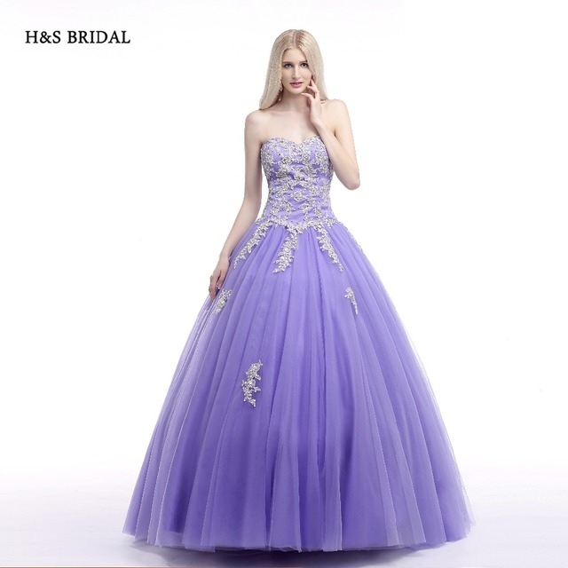 H&S BRIDAL Ball Gown Purple White Lace Appliques Prom Dresses Sweet ...