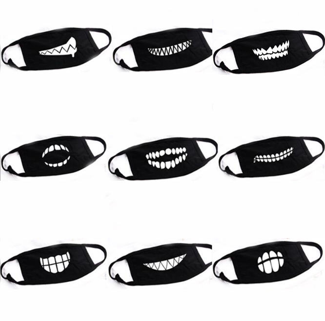 9pcs/lot Black Fashion Unisex Mouth Face Bear Tooth Pattern Mask Anti-dust Cotton Fabric Masks Keep Warm Masker Cute Winter Mask