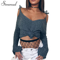 Simenual Cold Shoulder Knitted T Shirts For Women Fashion Sexy Slim Grey Crop Top Female T