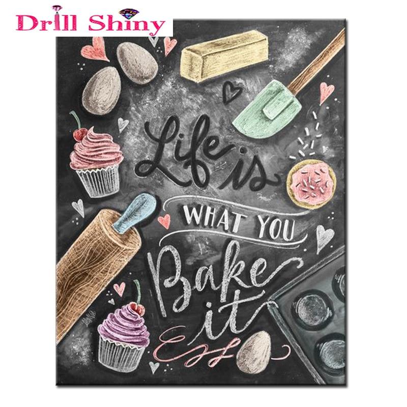 Vrtací lesklé potraviny Diamantové malování 3D DIY Plné - Umění, řemesla a šití