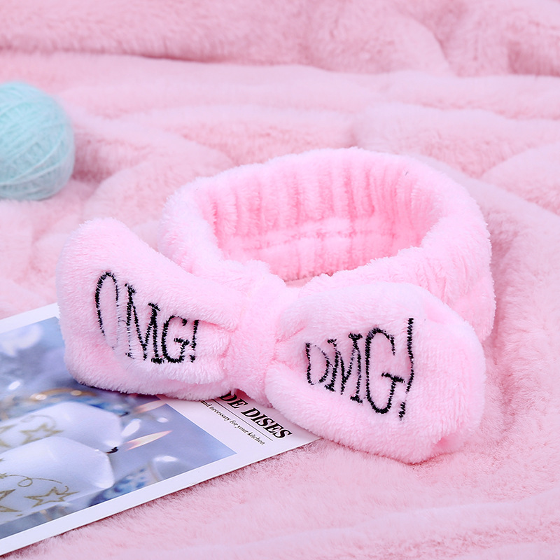 New OMG Letter Coral Fleece Wash Face Bow Hairbands For Women Girls Headbands   Headwear   Hair Bands Turban Hair Accessories