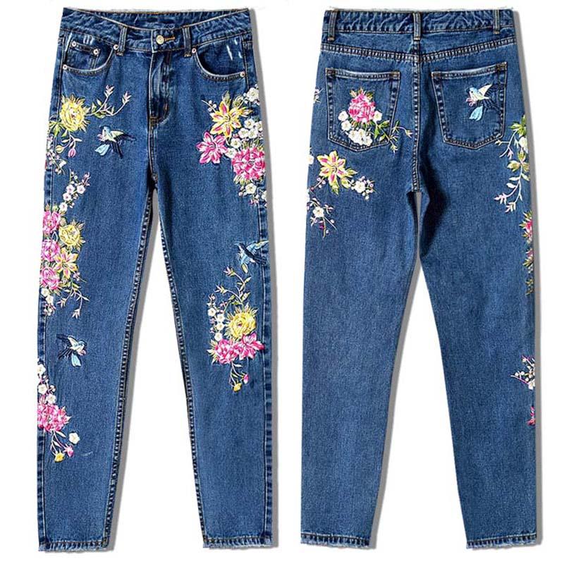 Cintura Las Rectos La Pantalones Largos Ropa Blue Estilo Flores Nuevo De 2d Legging Señora Mujeres Alta Dark Bordado Mezclilla Vaqueros qRZ81wt