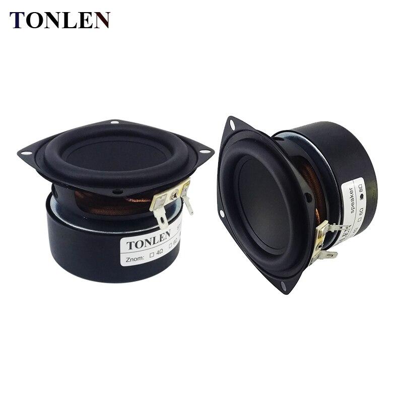 TONLEN 2PCS 3 inch Bass Subwoofer Speaker 4 ohm 8ohm 25 W HIFI Speaker Horn Portable