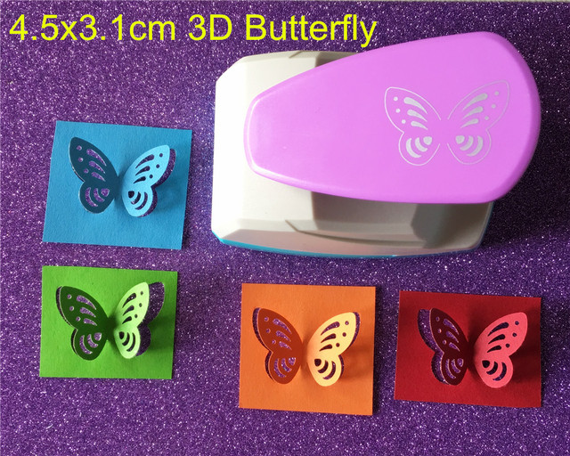 Free Shipping Large Size 4.5cm Stereoscopic 3D Butterfly Shape Punch Craft Scrapbook Paper Puncher Child DIY Tools Hole Punches