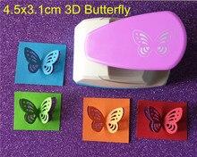 O envio gratuito de tamanho grande 4.5cm estereoscópico 3d forma borboleta perfurador artesanato scrapbook perfurador papel criança ferramentas diy buraco socos