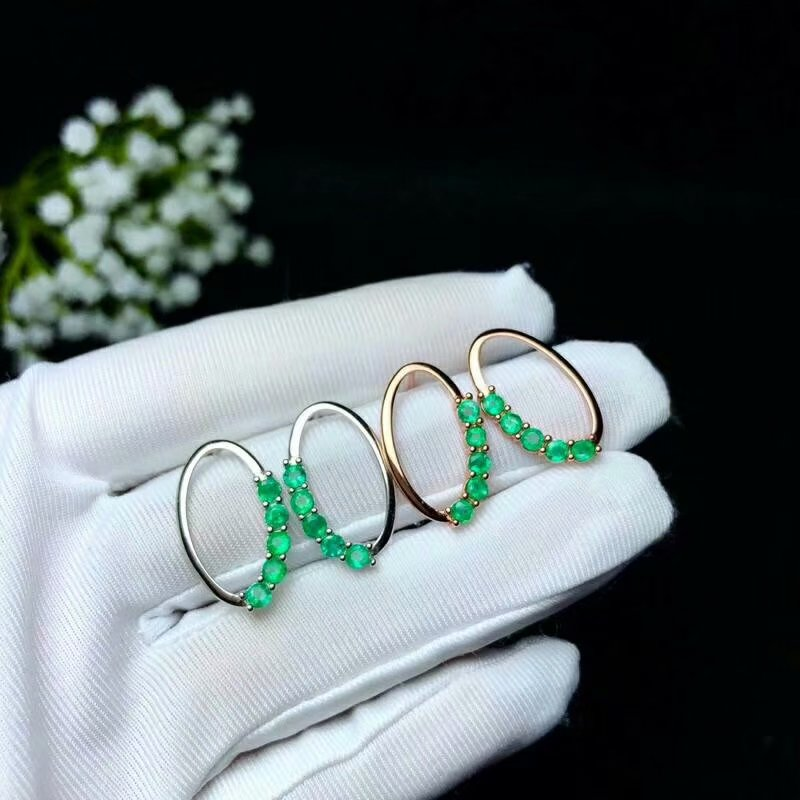 SHILOVEM 925 sterling silver real Natural Emerald stud earrings classic fine Jewelry new wedding wholesale 3
