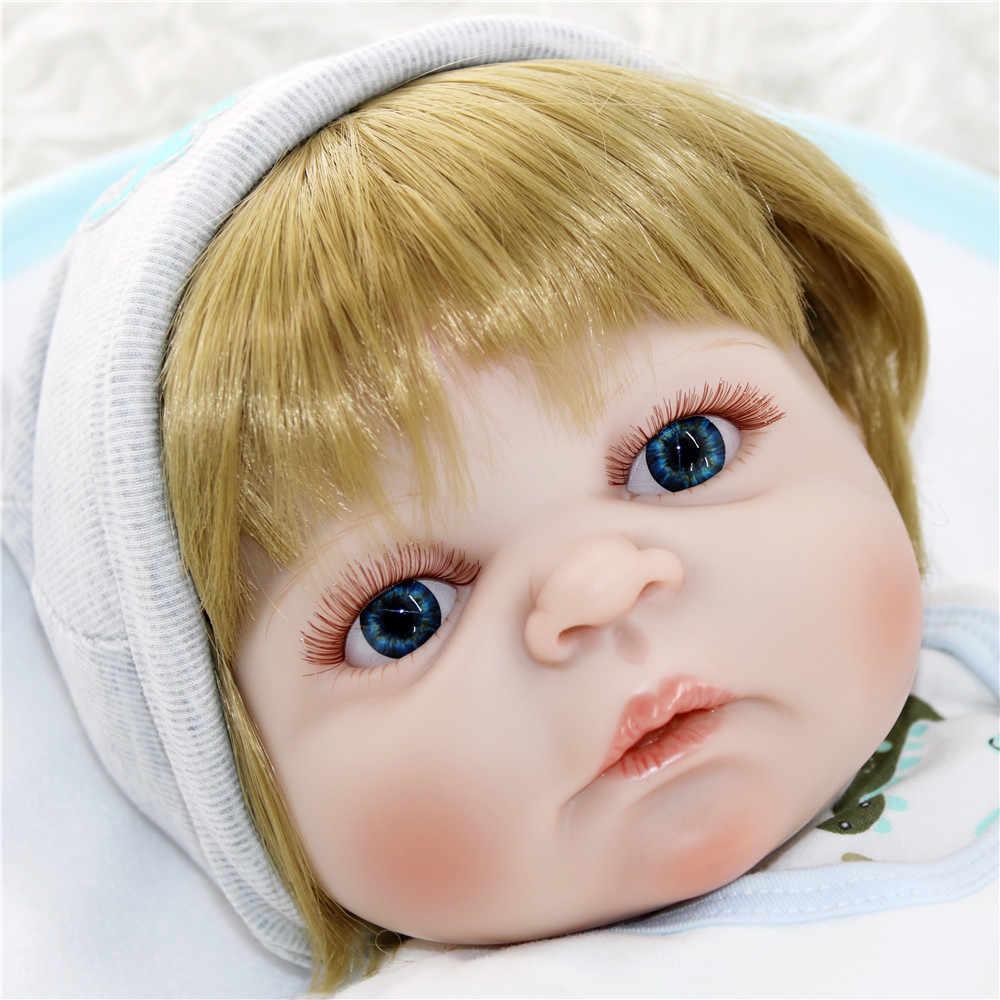 """Горячая Распродажа кукла новорождённого куклы 23 """"57 см полностью силиконовые Возрожденные куклы для малышей светлый парик bebes reborn menino bonecas кукла для детей подарок"""