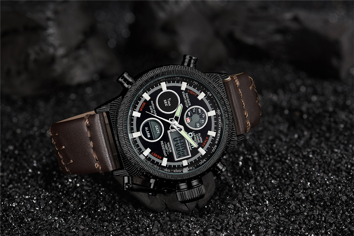 Oulm hommes montres de luxe marque en cuir montre de sport hommes Unique hommes Quartz LED horloge numérique étanche montre-bracelet militaire - 6