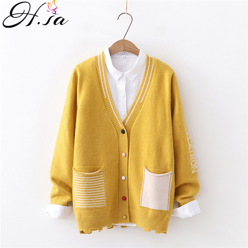H.SA 2019 Women New Sweater Cardigans V Neck Open Stitch Loose Knitted Jacket Coats Yellow Cardiagns Fall Sweater Jumpers Poncho