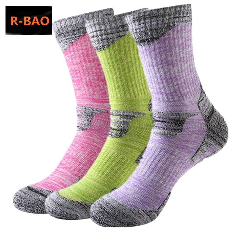 R-BAO Autumn Winter 2 Pairs Cotton Outdoor Mountaineering Ski Hiking Socks Thicken Women Men Sports Socks For Running Wholesale