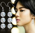 Chran 925 Libras Esterlinas Gancho de Prata 3 pcs Cubic Zirconia Imitação de Diamante Brincos de Argola Gota Frete grátis Moda Feminina Jóias