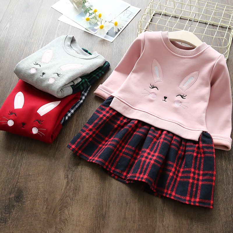 Girls Dresses Thick Plus Velvet Warm Clothes Kids Dresses For Girls Winter Children Long Sleeve Vestidos Baby Plaid Costumes 2016 winter new soft bottom solid color baby shoes for little boys and girls plus velvet warm baby toddler shoes free shipping