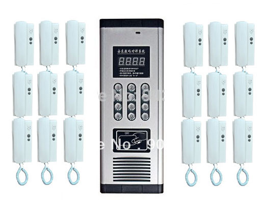 SMTVDP New Arrival Press Direct dialing non-visual building intercom system,18-apartments audio door phone ,ID card unlock