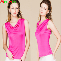 100 Real Silk Women S Tank Tops Femme Sleeveless Candy Color Women Tee Shirts Solid Basic