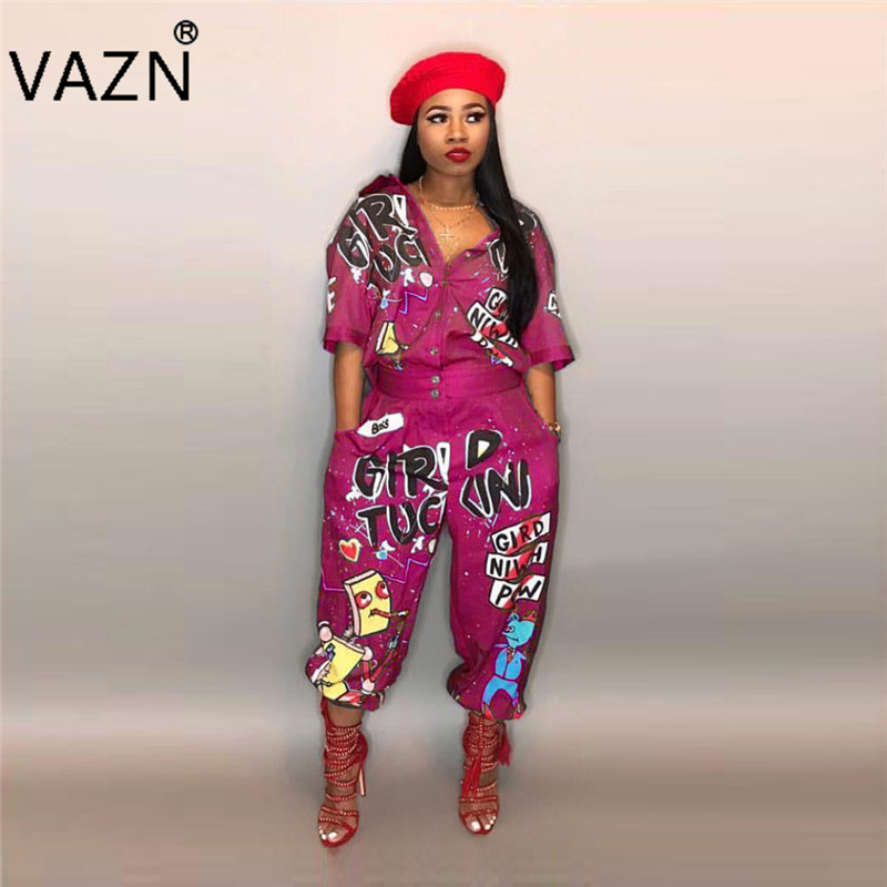 Professional Sale Vazn New Casual Fashion 2018 Temperament Design Women Long Jumpsuits Half Sleeve Loose Fancy High Street Romper Ld8103 Reliable Performance Women's Clothing
