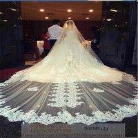 Новый 2019 Соборные Свадебные вуали с 5 метров 500*300 см Специальный Кружева Аппликации Край свадебная фата Свадебные аксессуары; Фата