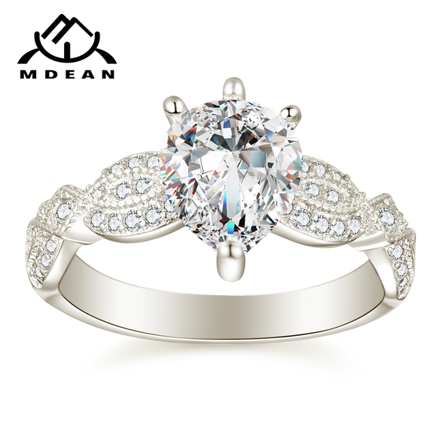 MDEAN Noble White Gold Color Engagement Rings for Women Wedding Clear AAA Zircon Fashion Jewelry Bague Bijoux Size  5-12 H836