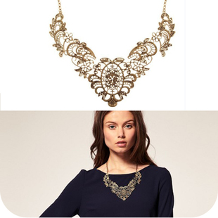 New European Vintage Luxurious Collar Chain Bronze Lace Flower Chain Choker Necklace for Women Sale 0188