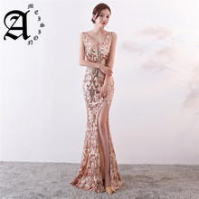 Ameision Evening dresses 2019 Sequined Zipper back Mermaid Party Gowns Backless Floor-length Trumpet Prom