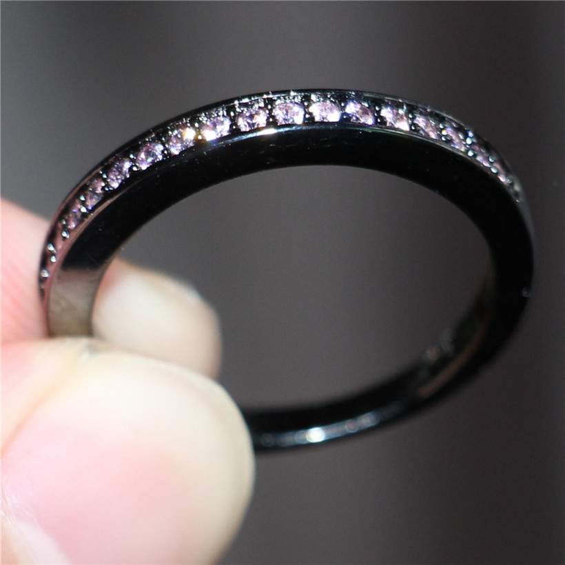 Image 4 - Lady's 925 Silver & Black gold Square Pink Simulated Diamond Paved Three stone Wedding Band Ring Sets Jewelry for Women-in Rings from Jewelry & Accessories