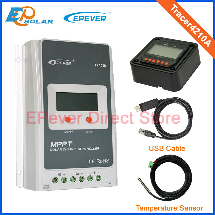 Tracer4210A 40A MPPT solar charge controller with MT50 remote meter USB and temperature sensor real mppt 20a solar charge controller tracer 2210rn with mt5 remote meter 20amps ep mppt solar charge regulators diy