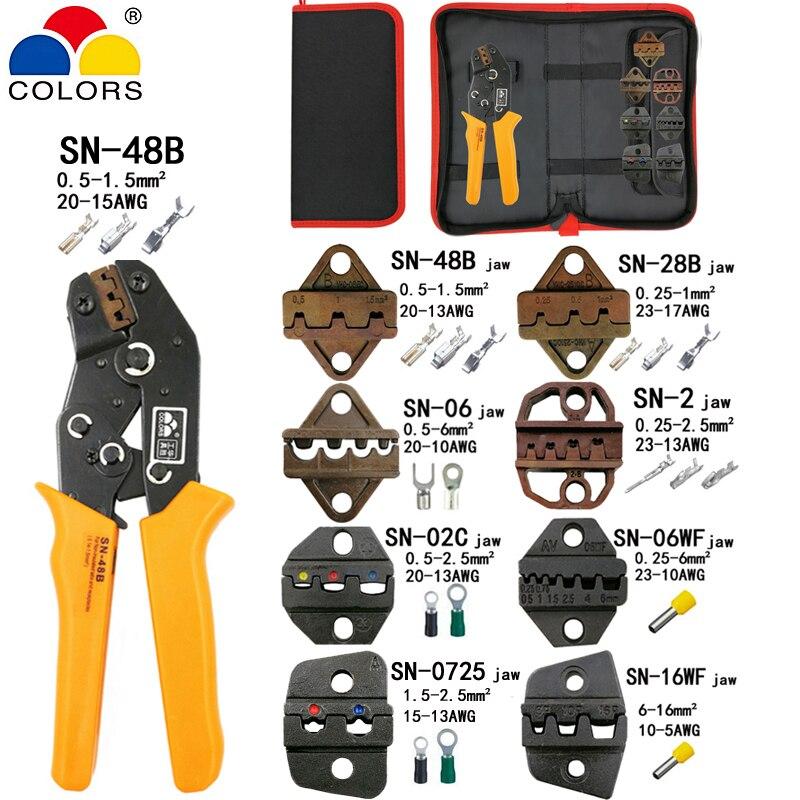 Alicates SN-48B 7 la mandíbula para 2,8 de 4,8 C3 XH2.54 3,96 2510 enchufamos/tubo/un aislamiento terminales kit bolsa eléctrico pinza de herramientas