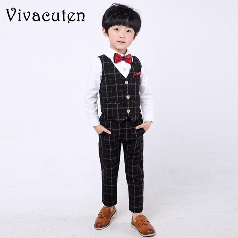 Fashion Kids Wedding Suits Flower Boys Plaid Vest Shirt Pants 3pcs Formal Party Dress Clothing Set Gentle Children Suit Set F133 kindstraum school trend boys formal clothing suits shirt vest pants tie 4 pcs set children sets party