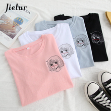 Jielur 4 Color Girl Embroidery Japanese T Shirt Harajuku Korean Style Brief Fresh White Top Summer S-XXL Anime T-shirts Dropship