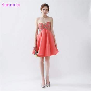 Short Coral Prom Dresses Chiffon Beaded Corset Lace Up Back Knee Length Beaded Prom Gown