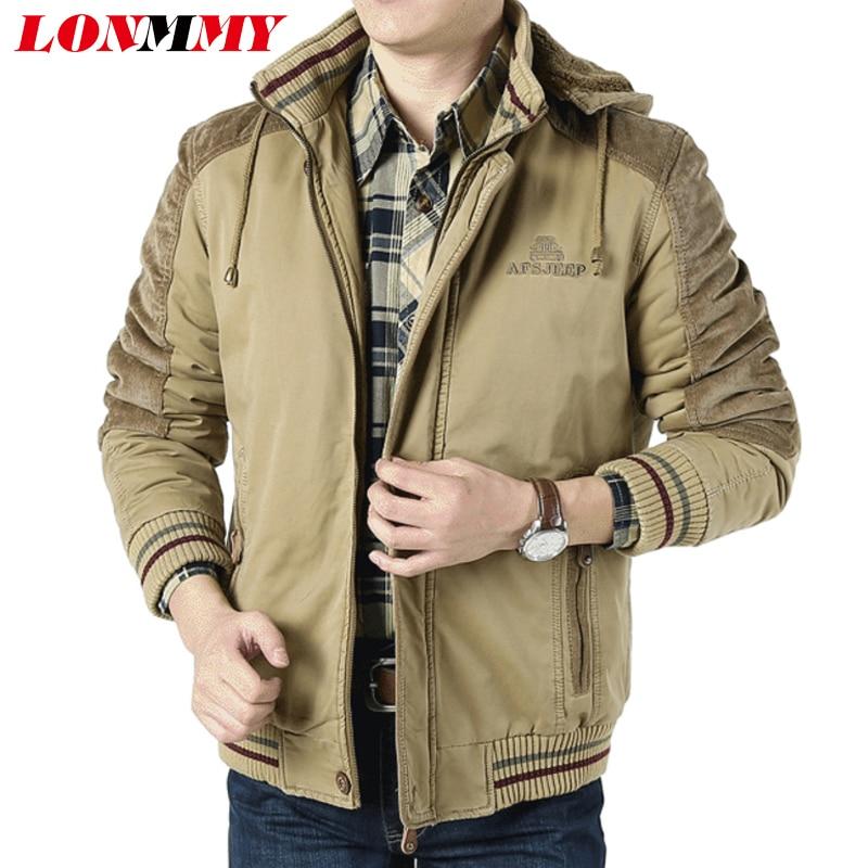 LONMMY M - 6XL 남성 폭탄 재킷 코튼 플러시 라이너 벨벳 짙은 겨울 2018 년 군대 스타일 후드 남성 자켓 및 코트