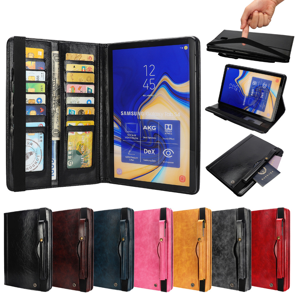 Flip Stand Leather Magnet Smart Sleep Pencil Holder Funda Capa Cover Coque Case For Samsung Galaxy Tab S4 10.5 SM-T830 T835 T837 removable bluetooth keyboard leather case for samsung galaxy tab s4 10 5 inch t830 t835 sm t830 cover funda with pencil holder