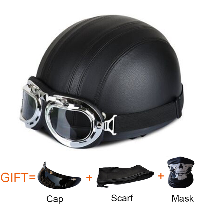 Unisex Retro Motorcycle Helmet Leather PU Scooter Open Face Helmet With Mask Goggles Scarf Gifts Vintage Motorcycle Helmets