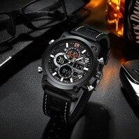 Роскошные мужские часы Лидирующий бренд Zegarek Meski кожаные спортивные часы мужские светодио дный кварцевые светодиодные цифровые часы водост