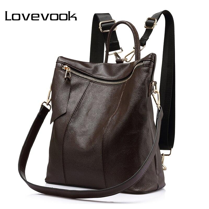 LOVEVOOK femmes sac à dos en cuir véritable sacs d'école femme épaule bandoulière sacs dames sacs à main en cuir sacs à dos filles 2018