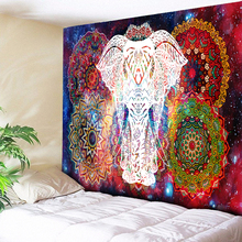 Elephant Tapestry Psychedelic Galaxy Starry Indian Mandala Wall Hanging Retro Hippie Fabric Boho Home Decor Cloth
