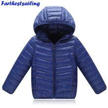 Ultra Light Down Jacket Kids Winter Outerwear Baby Boy Girl Autumn Warm Down Hooded Infant Overcoat Parka Jackets for Children все цены