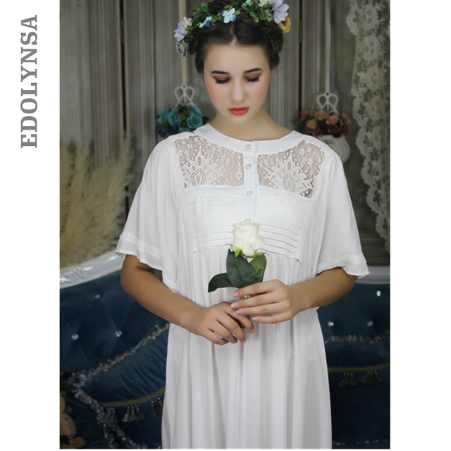 6583bdecbca27 Palace Style Vintage Nightgown Women Sleepwear Victorian Dress Plus Size  Sleep Lounge Nightdress Long Cotton Nightshirt