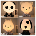 Panda/Rabbit/Dog/Bear Cartoon Night Light Kids Bed Lamp Night Sleeping Lamp for children room Light EU/US Plug Free Shipping