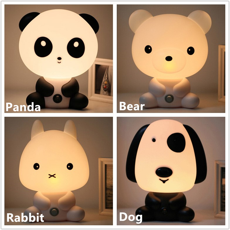 Panda/Rabbit/Dog/Bear Cartoon Night Light Kids Bed Lamp Night Sleeping Lamp for children room Light EU/US Plug Free Shipping ...