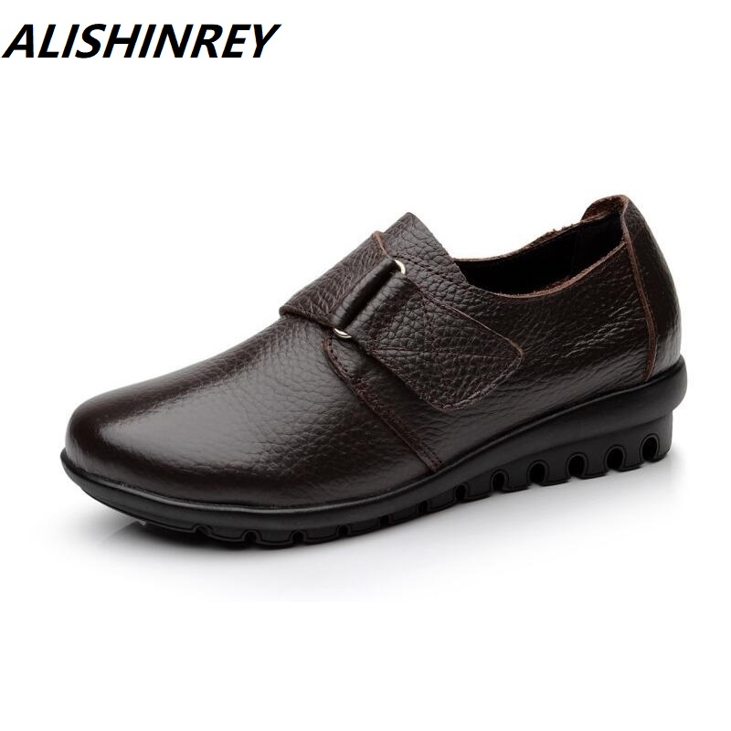 ALISHINREY flats Shoes Woman Genuine Leather Women Shoes Flats 3 Colors Buckle Slip On Women's Flat Shoes Moccasins Plus Size(China)