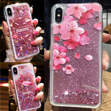 Glitter Liquid Flamingo Patterned Girly Soft Case Cover on for