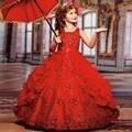 Блеск Красоты Little Girls Pageant платья с Бисером Бальное платье Кружева Малыш Ребенок Платье Платье-де-daminha