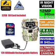 Blueskysea SG-880V 1080 P No Glow 12MP 940NM Mini Cámara de La Caza del Juego Del Rastro Scouting Infrarrojos IR Digital + 4800 mAh batería + 32 GBCard