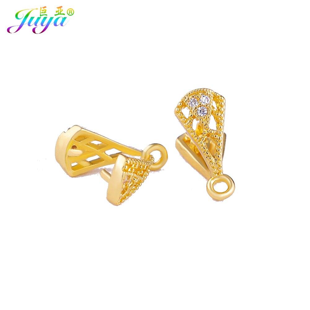 Juya DIY Fine Jewelry Findings Hooks Fastenings Gold Pinch Clip Bail Accessories For Fashion Dangle Agate Pearls Earrings Making