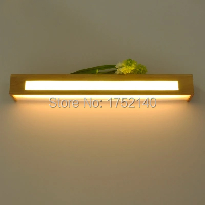 60 Cm Long Wood Led Wall Lamp Chinese Style Stair Bathroom Mirror Light Bedroom Bedside Lamp